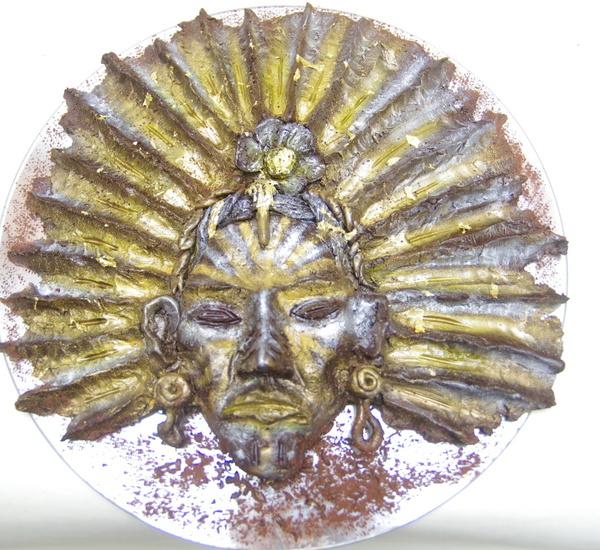Plastika peruánského indiána vytvořena pro výstavu čokolády pro muzeum Karlovy Vary na výstavu čokoláday v Nejdku U Karlových Var